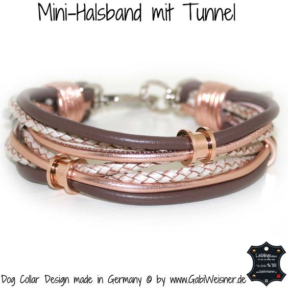 Hundehalsband mit 3 Tunnel in Roségold