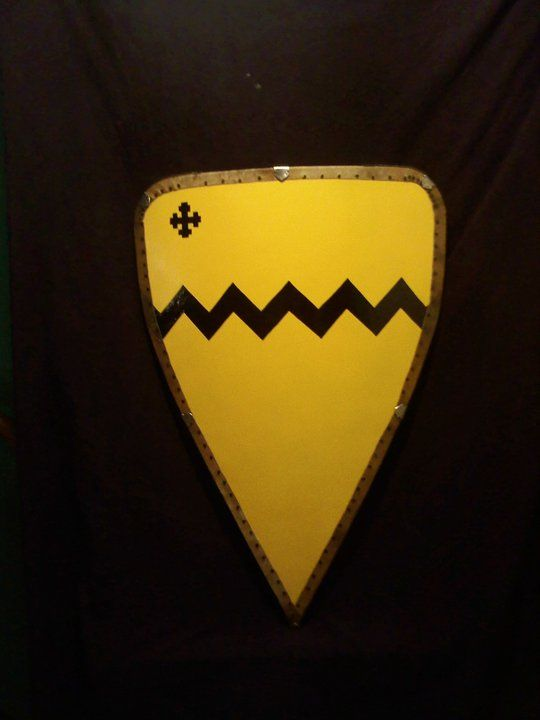 Vavasour arms on replica European medieval heater shield.