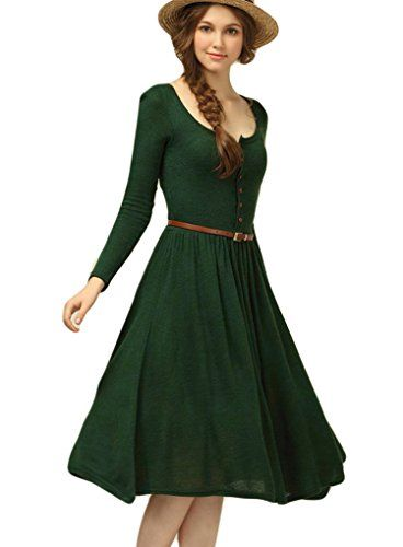 OURS Women's Vintage Retro Slim fit Long Sleeve Long Knit Swing Party Dress (M, Green) OURS http://www.amazon.com/dp/B017IJQNTW/ref=cm_sw_r_pi_dp_XhFJwb15XT17T