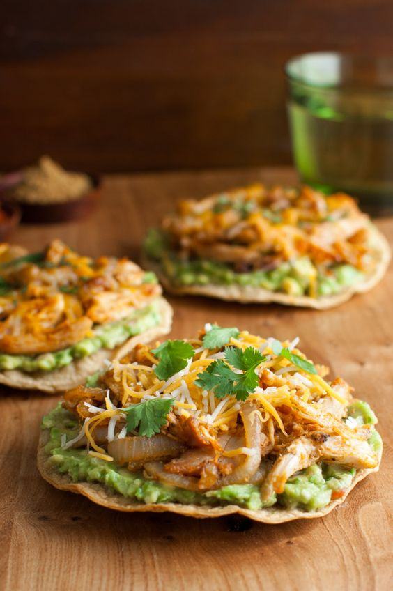 Guacamole, Baked corn and Chicken tostadas on Pinterest