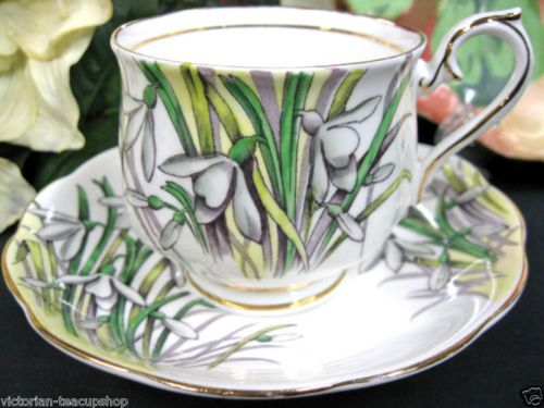 ROYAL ALBERT FOTM SNOWDROP PATTERN TEA CUP AND SAUCER DUO