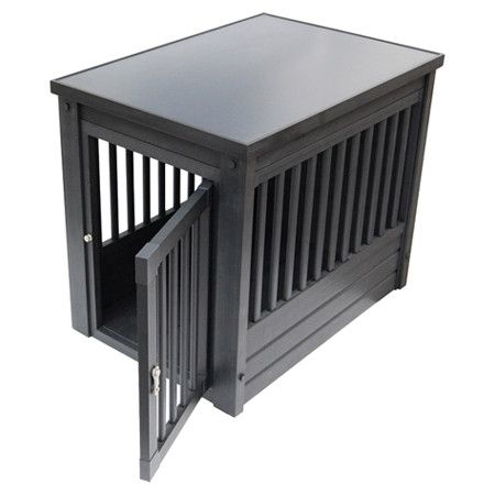 Showcasing Mission-style sides with a latched door and espresso finish, this handsome pet crate is a stylish and cozy home for Fido.