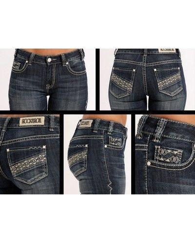 Rock & Roll Cowgirl® Juniors' Diagonal Aztec Jeans