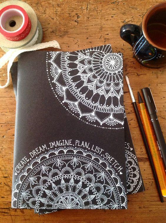 Hand-Decorated Black Cover Sketchbook, Notebook, Journal, 40 pages, acid-free, 140gsm, mandala art