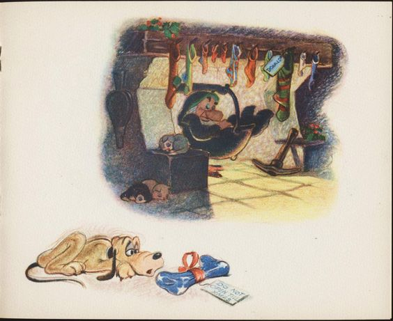 DISNEY STUDIO CHRISTMAS CARD 1938 | In 1938, the Disney Studio continued the tradition of sending out Christmas cards. Storybook-style production with a sleeping DOPEY on the cover. It features Disney characters.  PLUTO AND  DWARF  5 0F 7