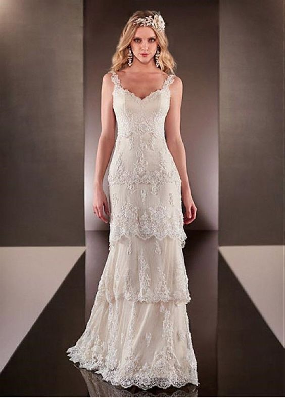2015 Empire Polka Dot Bohemian Bridal Wedding Dress With Beaded Lace Appliques asdress