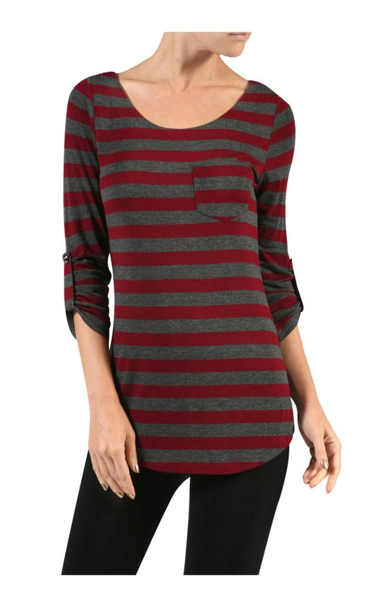 3/4 Sleeve Stripe Knit Top W/ Chest Pocket