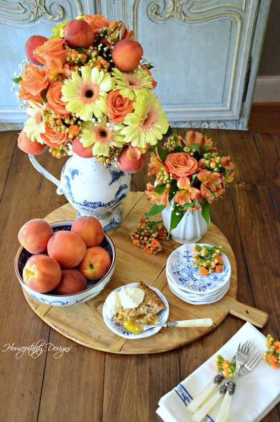 Summer Peaches and Flowers