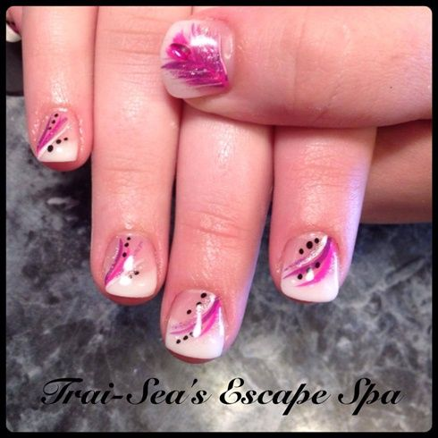 Pink Purple Design Feathers By Traiseasescape Nail Art Gallery