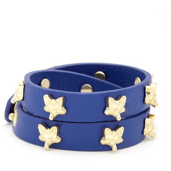 Sole Society Mini Fox Leather Bracelet ($12) ❤ liked on Polyvore featuring jewelry, bracelets, accessories, navy, fox bracelet, studded wrap bracelet, leather jewelry, navy blue bracelet and leather bangle