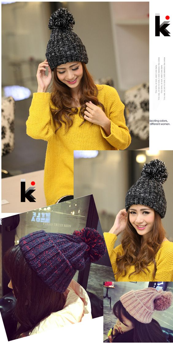 Fashion 2015 Autumn And Winter Female Hats Hot Selling The Knitting Ball Wool Cap Hat Casual Outdoor Cap For Women Free Shopping-in Skullies & Beanies from Men's Clothing & Accessories on Aliexpress.com | Alibaba Group