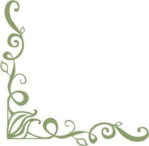 Flourish with leaves corner border design | Silhouette ...