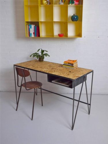 industrial steel metal desk with mid century vintage aesthetic osb wood top metal desks. Black Bedroom Furniture Sets. Home Design Ideas