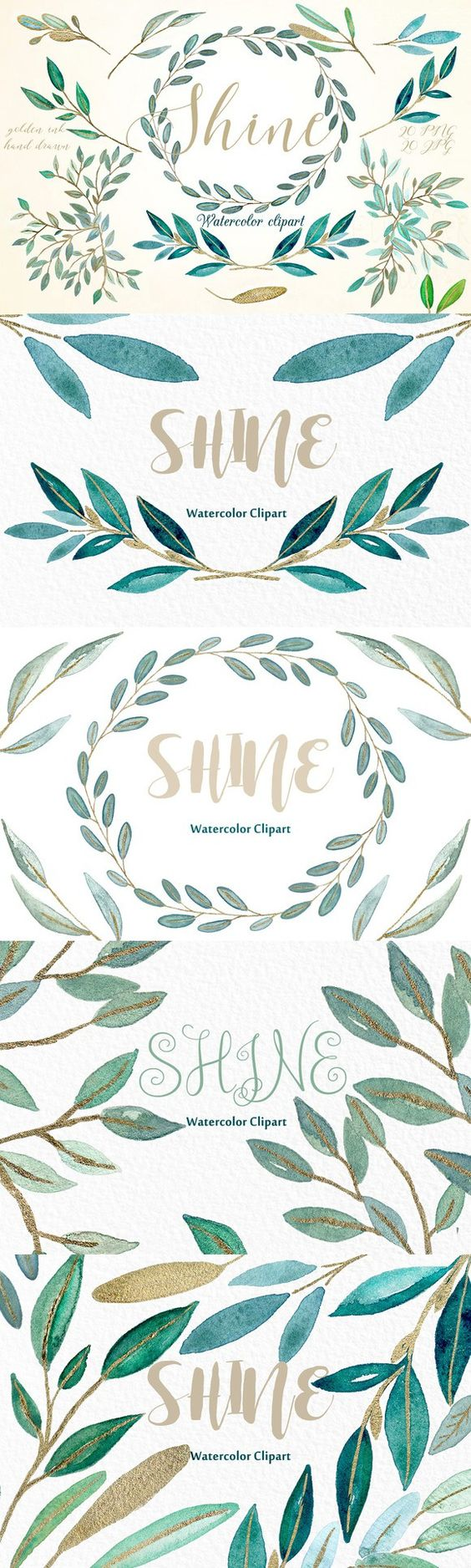 Shine gold leaves Watercolor clipart