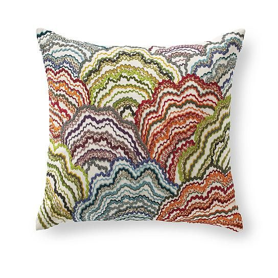 When science, or home design television, finally proves that liberal use of bright, gorgeous pillows produce extra happiness at home, we think the Berkley    Clouds Pillow will land among the styles they point to as proof. Cheerful and naturally fun, it meticulously handcrafted, too. The vivid    embroidered design looks richly dimensional. Billowing upward with color, the graphic clouds have the impact of an illustration, and are transformed with a    fashionable color palette. Exquisite...