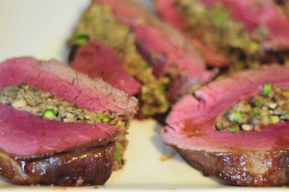 Hoisin Glazed Beef Tenderloin Stuffed with Mushrooms and Asparagus