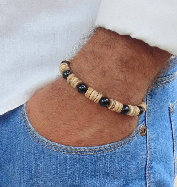 Free Shipping  Beaded mens Bracelet  Brown Wood by AnnaRinJewelry