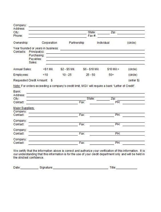Credit Application Form 13 Krediet applikasies Pinterest - credit application forms