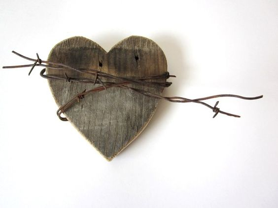 The shy wild heart with old barn wood rustic barbed wire sign