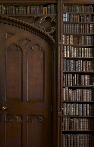 A grand library door in the Gothic style...