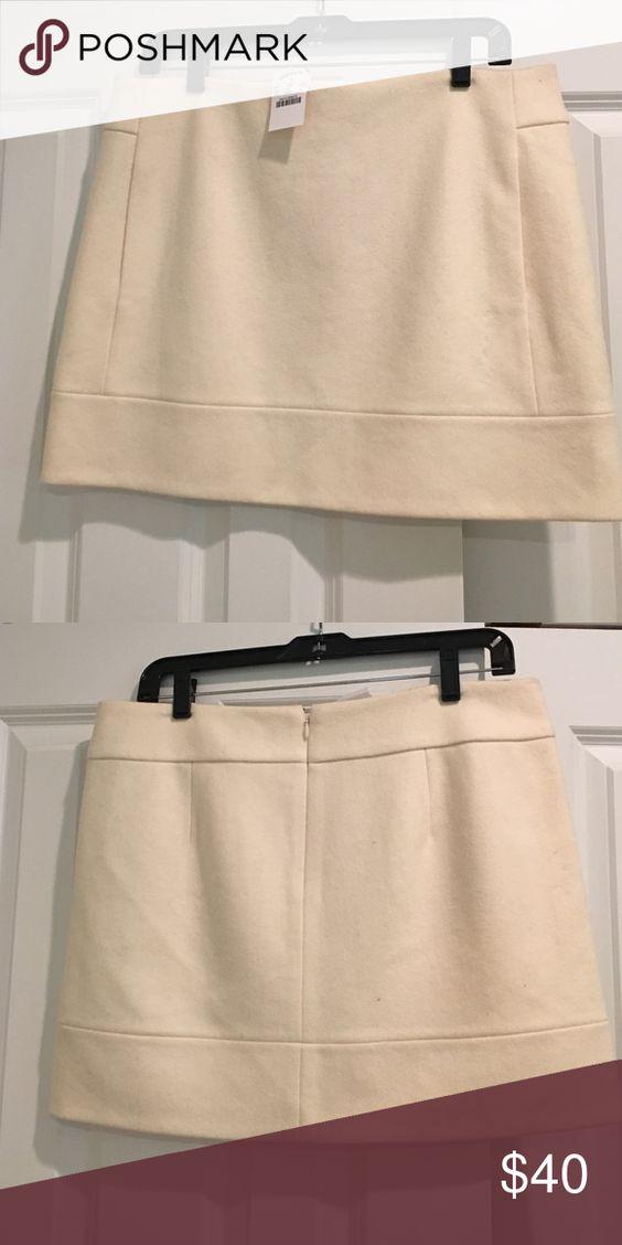 Cream wool mini skirt New with tag, lined, hidden zip J. Crew Skirts Mini