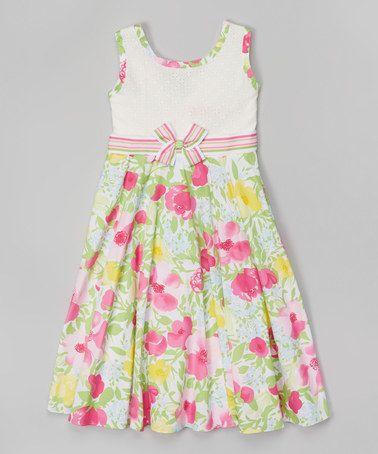 Another great find on #zulily! Green & Fuchsia Floral Dress - Toddler & Girls #zulilyfinds