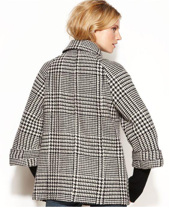 Calvin Klein Coat, Double-Breasted Plaid Swing - Coats - Women - Macy's
