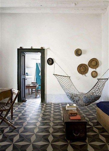 indoor hammock, tile floor