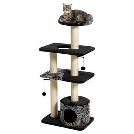 """Four-tier cat tower in black with five sisal-wrapped supports and a cubby retreat.  Product: Cat treeConstruction Material: Faux fur, metal, plastic, and particle boardColor: Black and beigeFeatures:  High-rise bolstered lounging perchResting benchesCubby retreat Dimensions: 50.5"""" H x 22"""" W x 15"""" D"""
