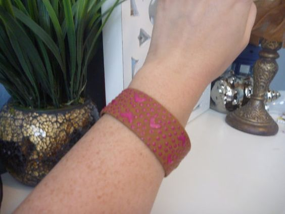Pink Dots and Hearts Leather Bracelet-Brown by SunriseTwoSunset