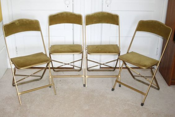 4 Vintage A Fritz Amp Co Folding Chairs Gold Velvet