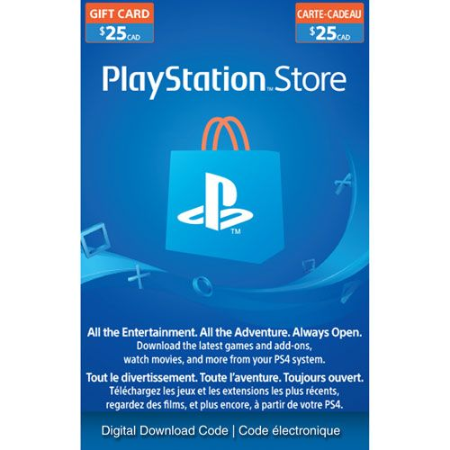 Playstation Store 25 Gift Card Digital Download Best Buy Canada Ps4 Gift Card Store Gift Cards Xbox Gift Card