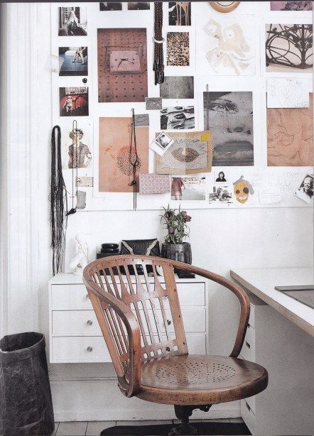 Clean white home office Elle Decoration