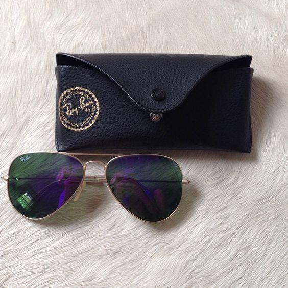 purple reflective Ray bans great condition!! purple reflective aviators Ray-Ban Accessories Glasses