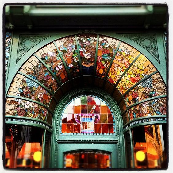 Spectacular pharmacy stained glass door surround located in Ghent, Belgium: