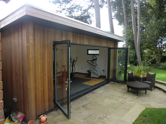 Maybe your dream garden room is a gym like this customer for Garden shed gym