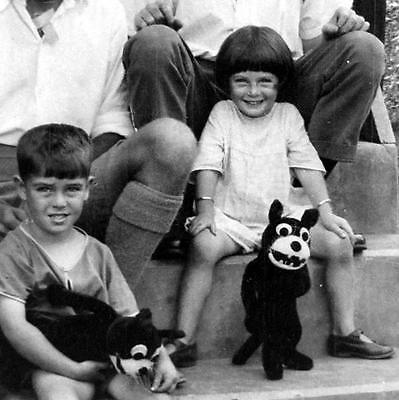 "Old celluloid negative photograph ... Singapore ,China.    c1920s ..Photo of children with the their new ""Felix The Cat""toy."