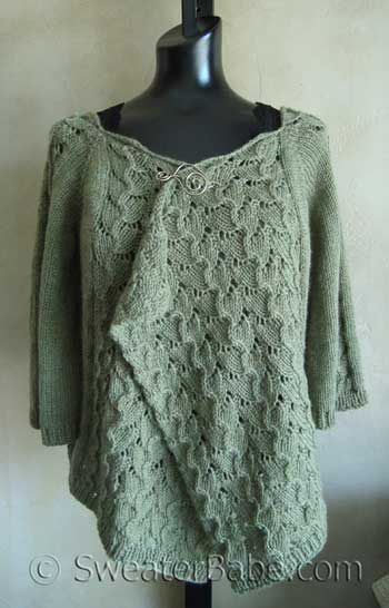 #102 Drape-Front Top-Down Lace Cardigan PDF Knitting Pattern Lace, Photos a...