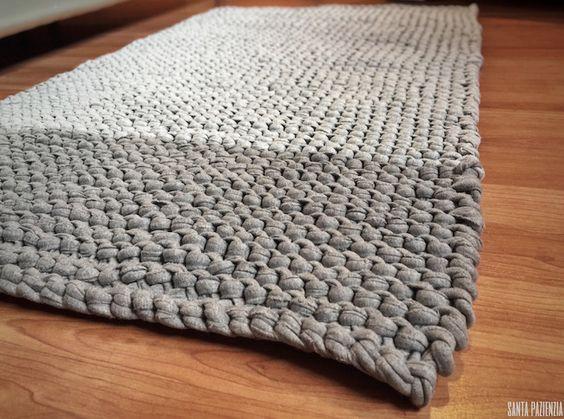 Alfombra en punto bobo de trapillo santa pazienzia - Puntos crochet trapillo ...