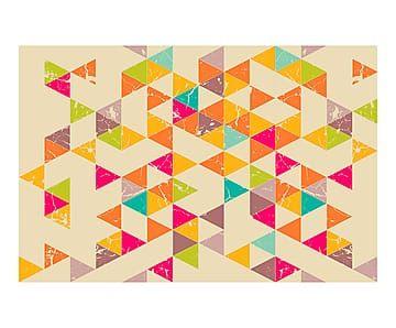 Alfombra vin lica tri ngulos colores mosaicos y dibujos - Alfombras dibujos geometricos ...
