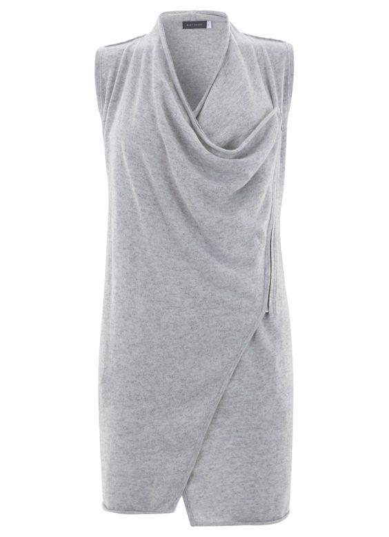 Mint Velvet Silver Grey Drapey Zip Waistcoat