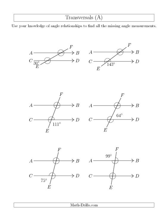 Printables Alternate Interior Angles Worksheet angle relationships in transversals a new 2013 07 17 the math worksheet from geometry page at