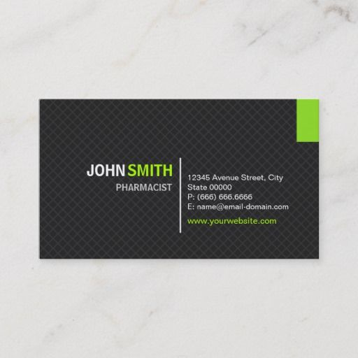 Pharmacist Modern Twill Grid Business Card Zazzle Com Unique Business Cards Green Business Construction Management