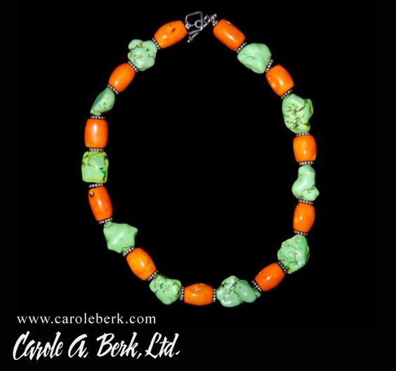 Lucious Orange and green stone choker necklace ,$145.