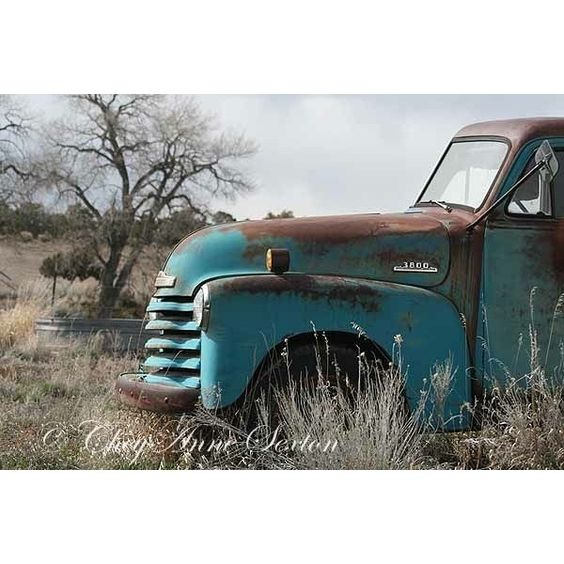 Old Blue Chevy Truck - Big Art Print 30x40 - Vintage 1952 Chevy Truck - Antique Aqua Pickup - Turquoise Blue Farm Truck found on Polyvore