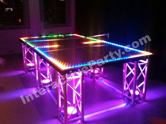 Ideas for a Glow in the Dark Party or Mitzvah - LED Ping Pong from Interactive Entertainment Group - mazelmoments.com