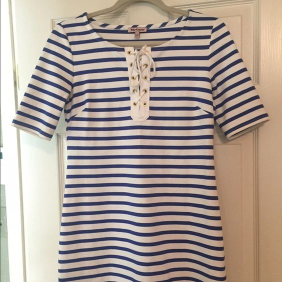 Juicy Couture dress Juicy Couture royal blue and white striped dress size small Juicy Couture Dresses
