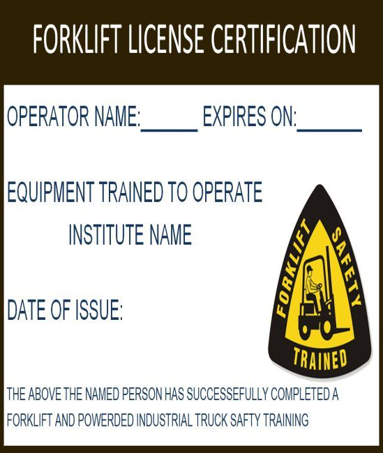 15 Forklift Certification Card Template For Training Providers Template Sumo Forklift Card Template Certificate Templates