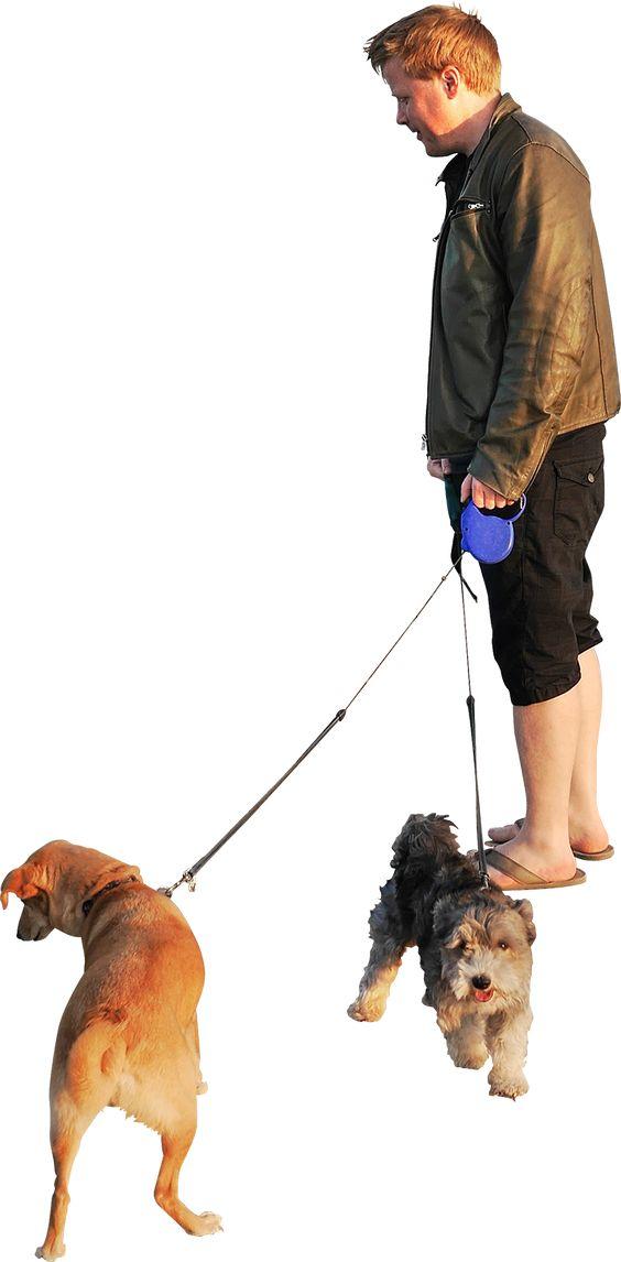Homem com cachorros
