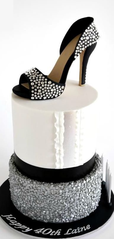 Crystal Sugar Shoe on Silver Sequins Cake